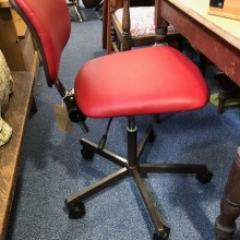Chair - secretary/office/operator wheeled red leather