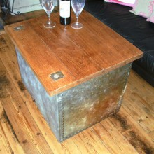Coffee table from vintage water tank - with storage.