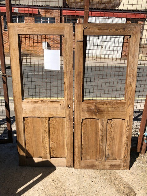 Pair French external part glazed pitch pine doors.