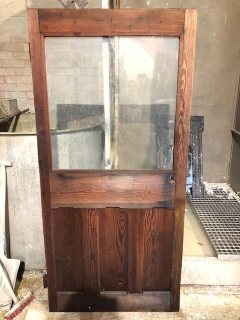 Part Glazed pitch pine door
