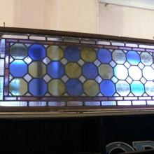 Blue and yellow colour glass framed light