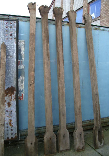 Set 5 period oak cart house beams