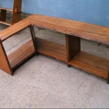 Rustic oak floor standing shelf unit