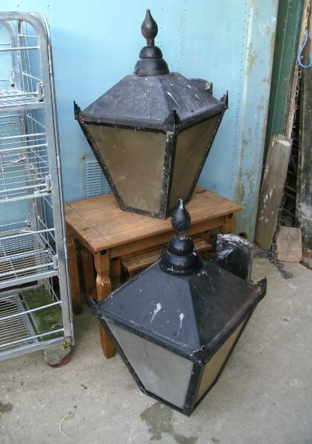 Pair lamp post tops or wall lights