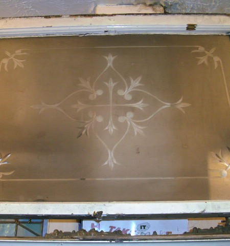 Star etched period glass panel 32 x 22