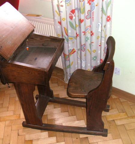 School Desk and chair - Pitch pine lift top sliding school desk