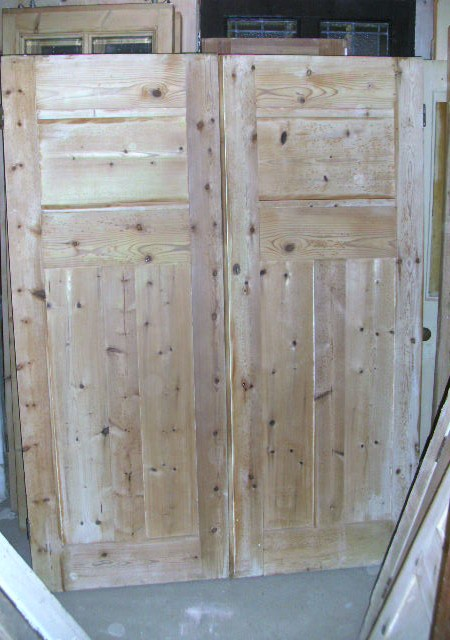 2 matching pairs of pine wardrobe or cupboard doors