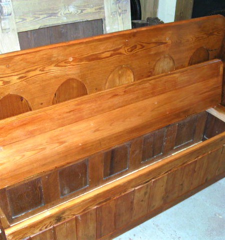 Settle - pitch pine with storage made from a Church lectern.
