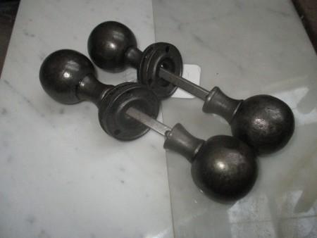 Door handles - 2 Pairs black metal door handles