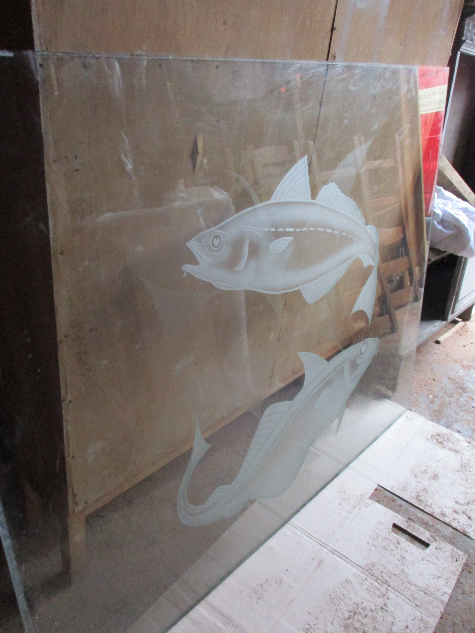 Fish etched glass panels