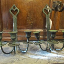 wrought iron wall hung candlesticks