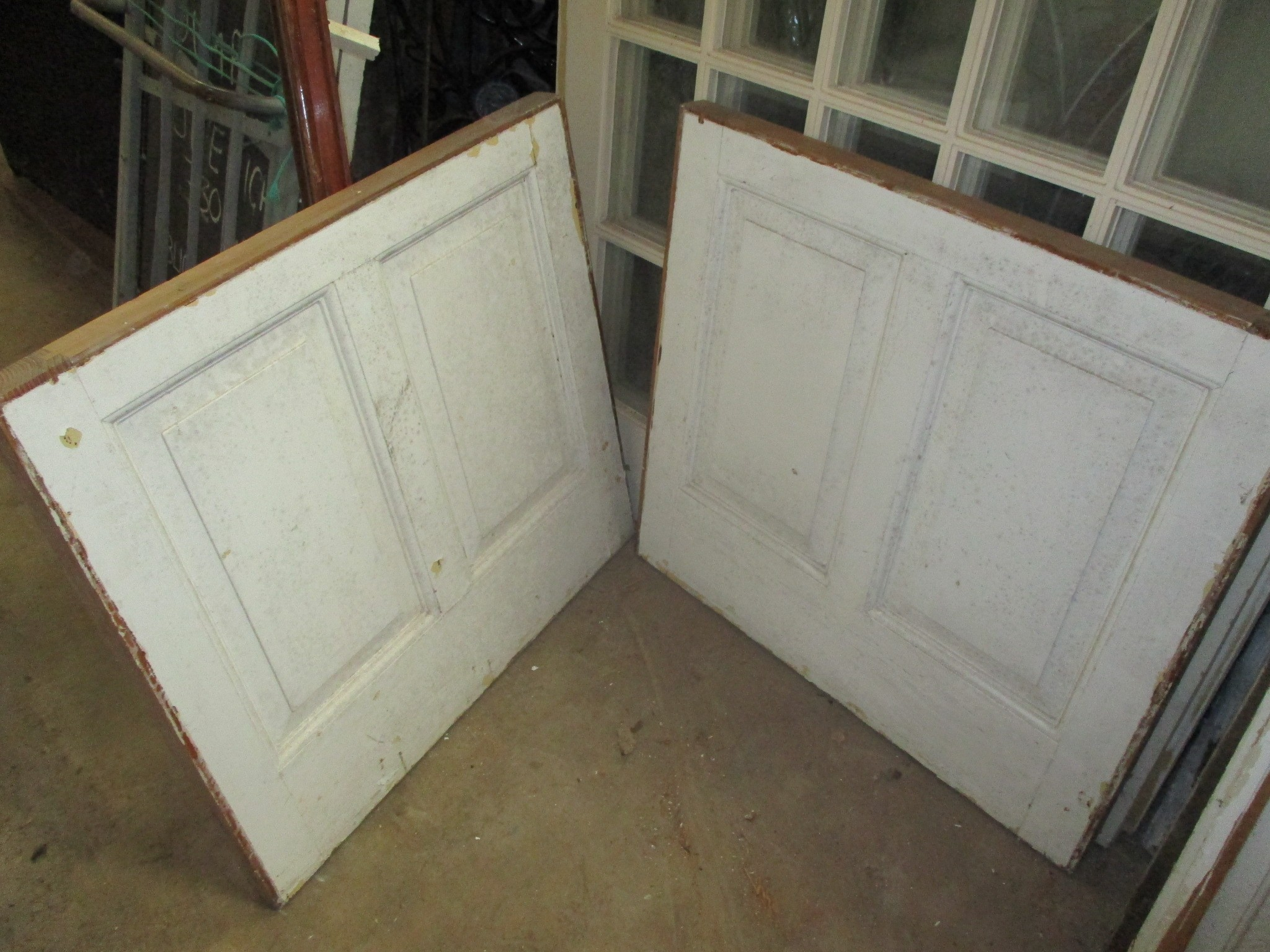 wall panelling - pair pitch pine panels